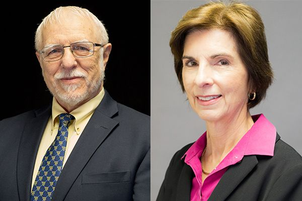 A composite photo of a smiling man and smiling woman