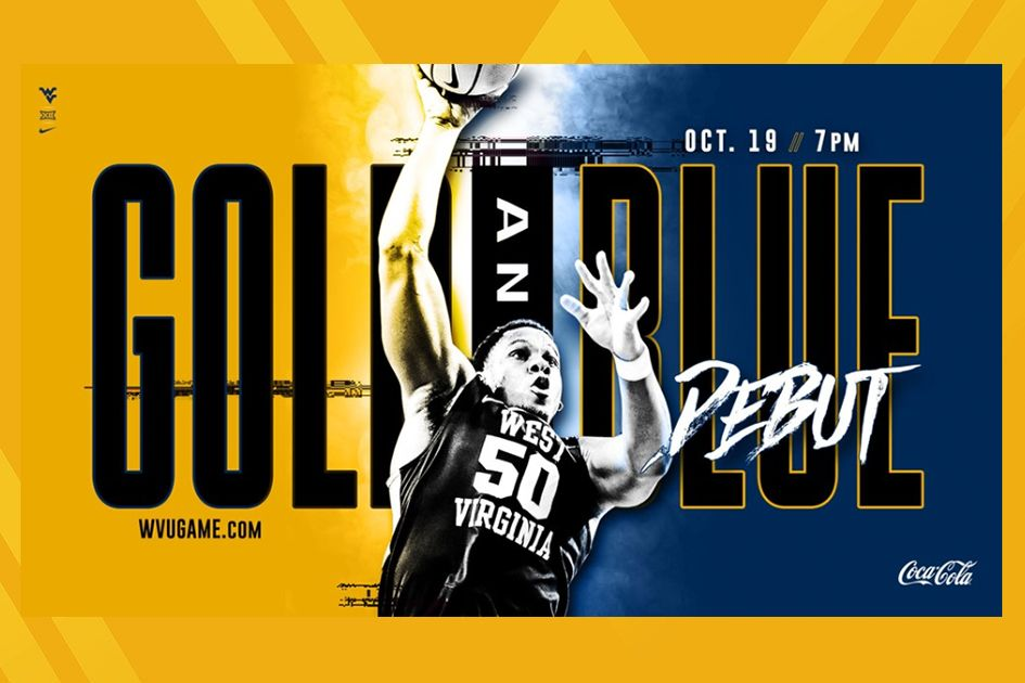 Gold and Blue Debut logo with basketball player making a shot with a ball