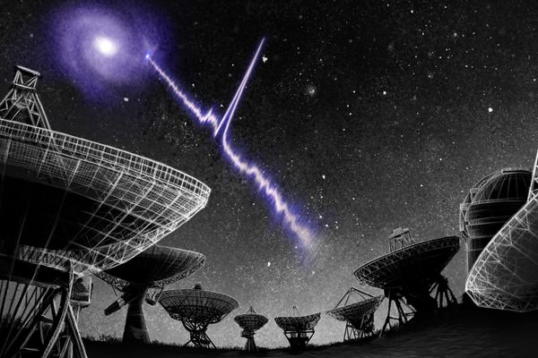 satellite dishes pointed toward the dark sky bisected by purple flash of light stemming from purple object