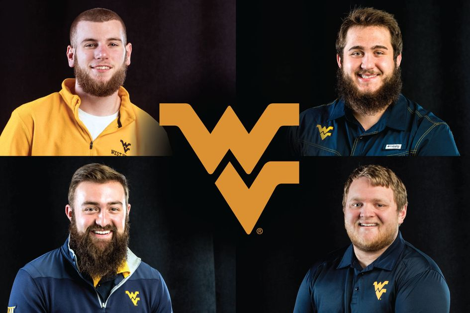 Composite of four 2018 finalists to be the WVU Mountaineer Mascot Jesse Lackey, Timothy Eads, Trevor Keiss and Troy Salatino
