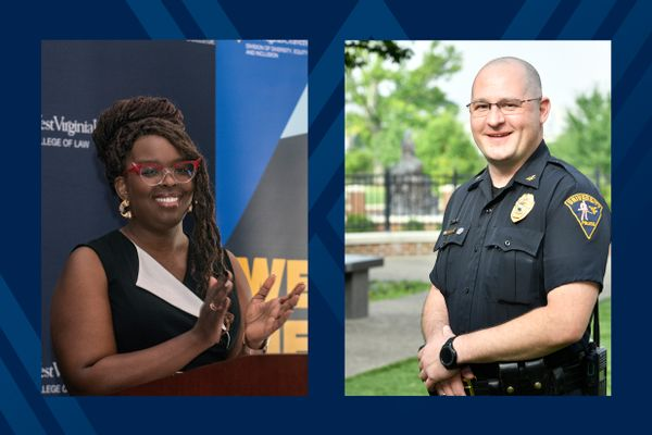 black woman (left) and white bald man in a police uniform (right)