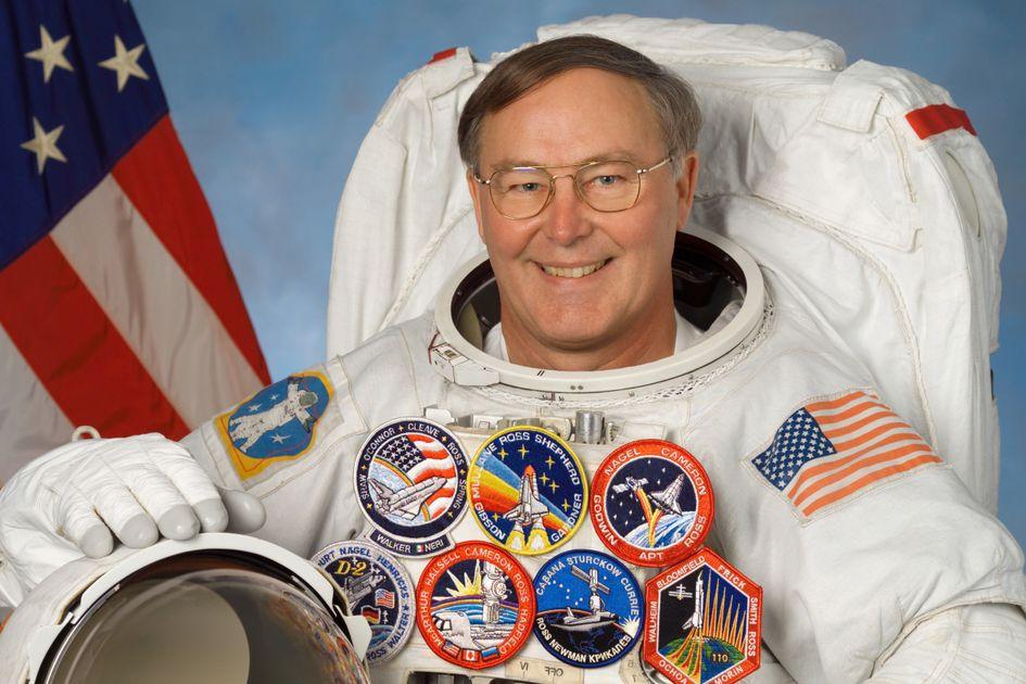 Space shuttle astronaut Jerry L. Ross in astronaut suit