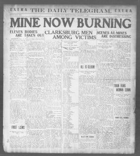 "Front page of the The Daily Telegram, Saturday, December 7, 1907. Headline reads ""Mine Now Burning"""