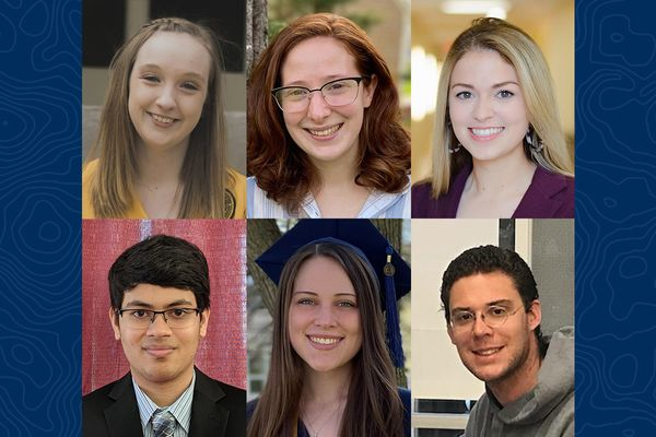 composite of six young people on blue background