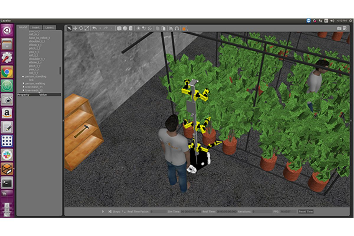 Digital image of a robot pollinating plants