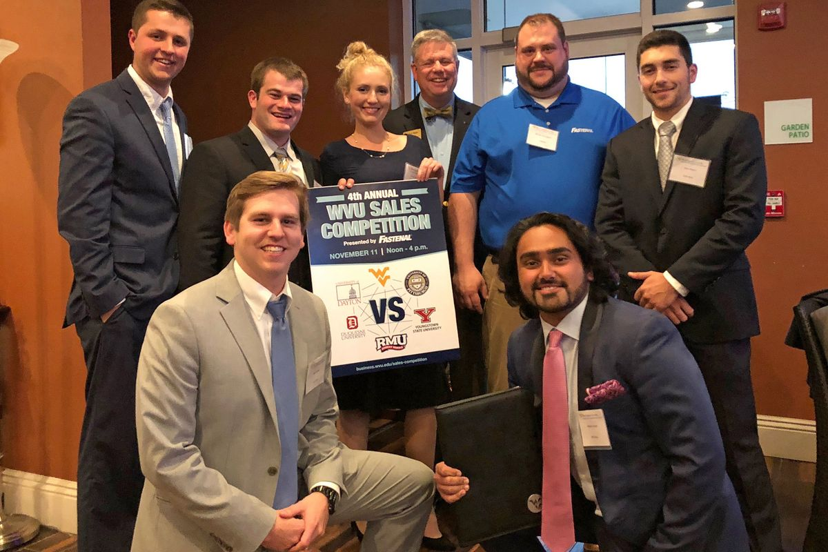 Seven WVU students celebrate the Professional Sales Institute's ranking as one of the top sales schools in the world.
