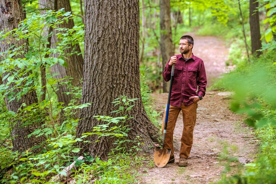 Man stands in forest in red flannel and brown pants holding a shovel on a trail with green leaves around him