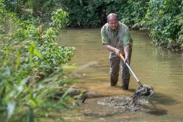 photo of man dredging a stream with a basket tool