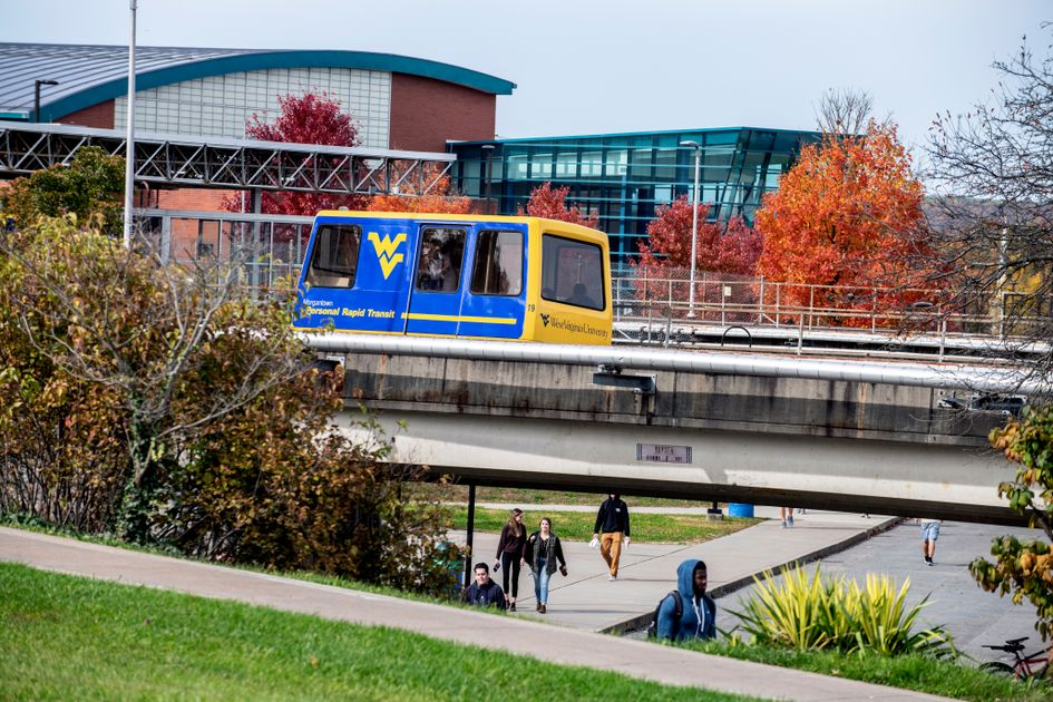 PRT car on the track in front of the WVU Student Rec Center