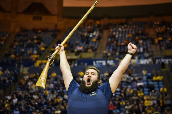 Timothy Eads celebrates being named the Mountaineer Mascot