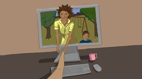Illustration of a black woman and her son reaching through the screen to an isolated hand.