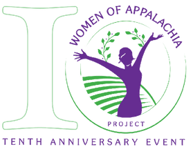 "logo of the number 10 with woman in field and ""women in Appalachia, tenth anniversary event"""