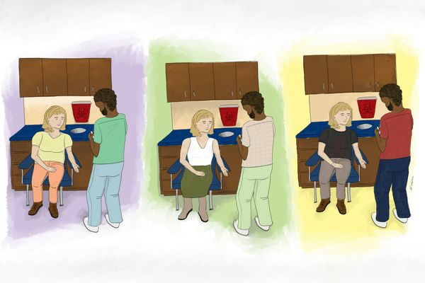 Illustration of person in chair in front of desk with person standing, facing them in three colors suggesting three times