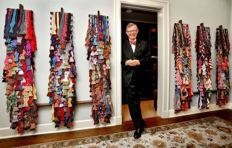 President Gee with his bow tie collection.