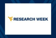 Research Week wordmark with gold flying WV and RESEARCH WEEK in blue letters on white background, then blue background