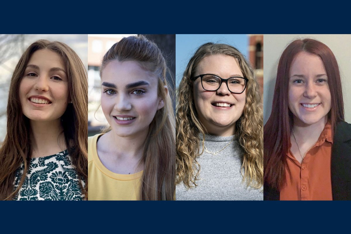 composite of four young women