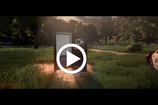 play button over image of green field with police car on right side