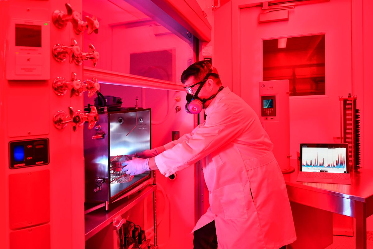Timothy Nurkiewicz, director of WVU's Toxicology Working Group, conducts research in WVU's new Inhalation Facility. The facility accommodates collaborative research into inhaled particles' health effects, and it is notable for its real-time measurement capabilities.