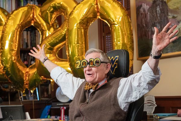President Gordon Gee celebrates the arrival of 2020.