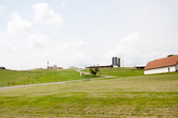 grassy hill and farm buildings