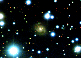 illustration of galaxy, bright dots on black background