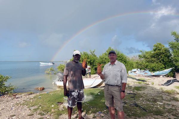 men stand on beach with rainbow in background