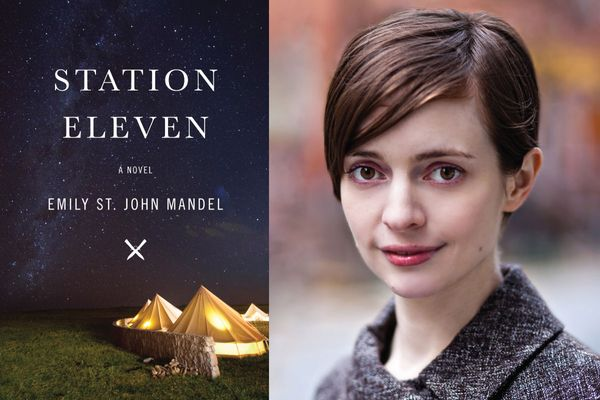 Composite image of Station 11 book cover-- black background, tan tents, title of the book and author next to woman wearing grey sweater with short brown hair