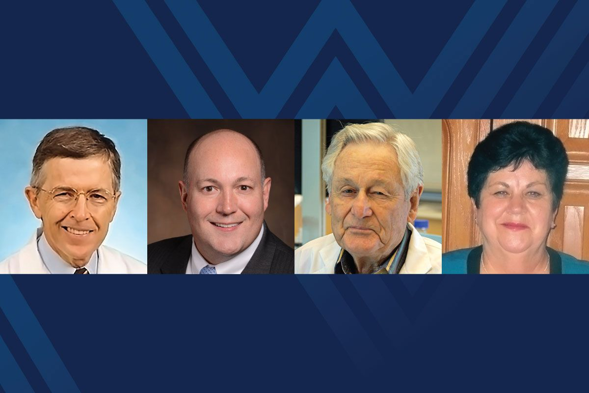 Dr. Ronald Wilkinson, Jon Hammock, Mannon Gallegly and Barbara Bodkins are the WVU 2017