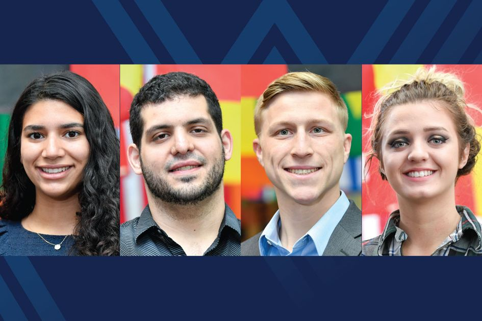Portraits of Annalice Bollica, Lawrence Georgiana, Scott Lopez and Brianna Paul on blue background