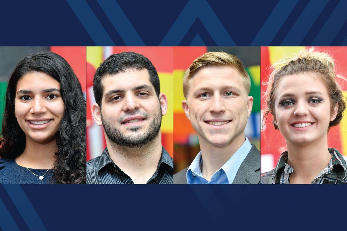 Portraits of Annalice Bollica, Lawrence Georgiana, Scott Lopez and Brianna Paul on blue background