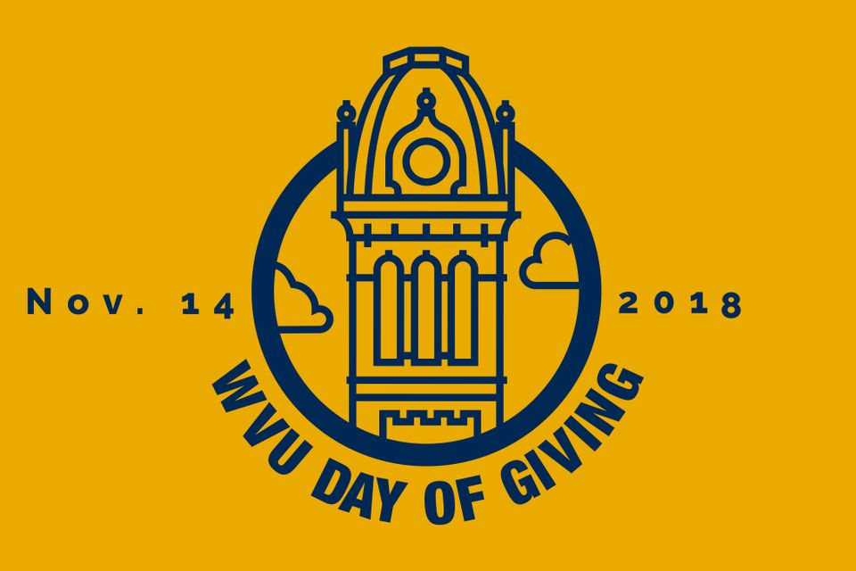 "Gold background with illustration of Woodburn Hall with ""WVU Day of Giving"" and Nov. 14 2018 in blue writing"