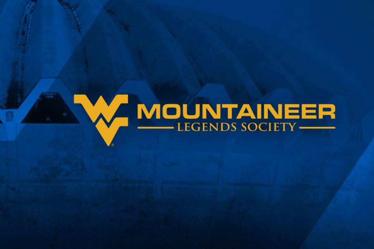 Gold flying WV logo on blue background with