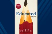 """The """"Educated: A Memoir"""" book cover which depicts a large pencil which doubles as a mountain that a man is on"""