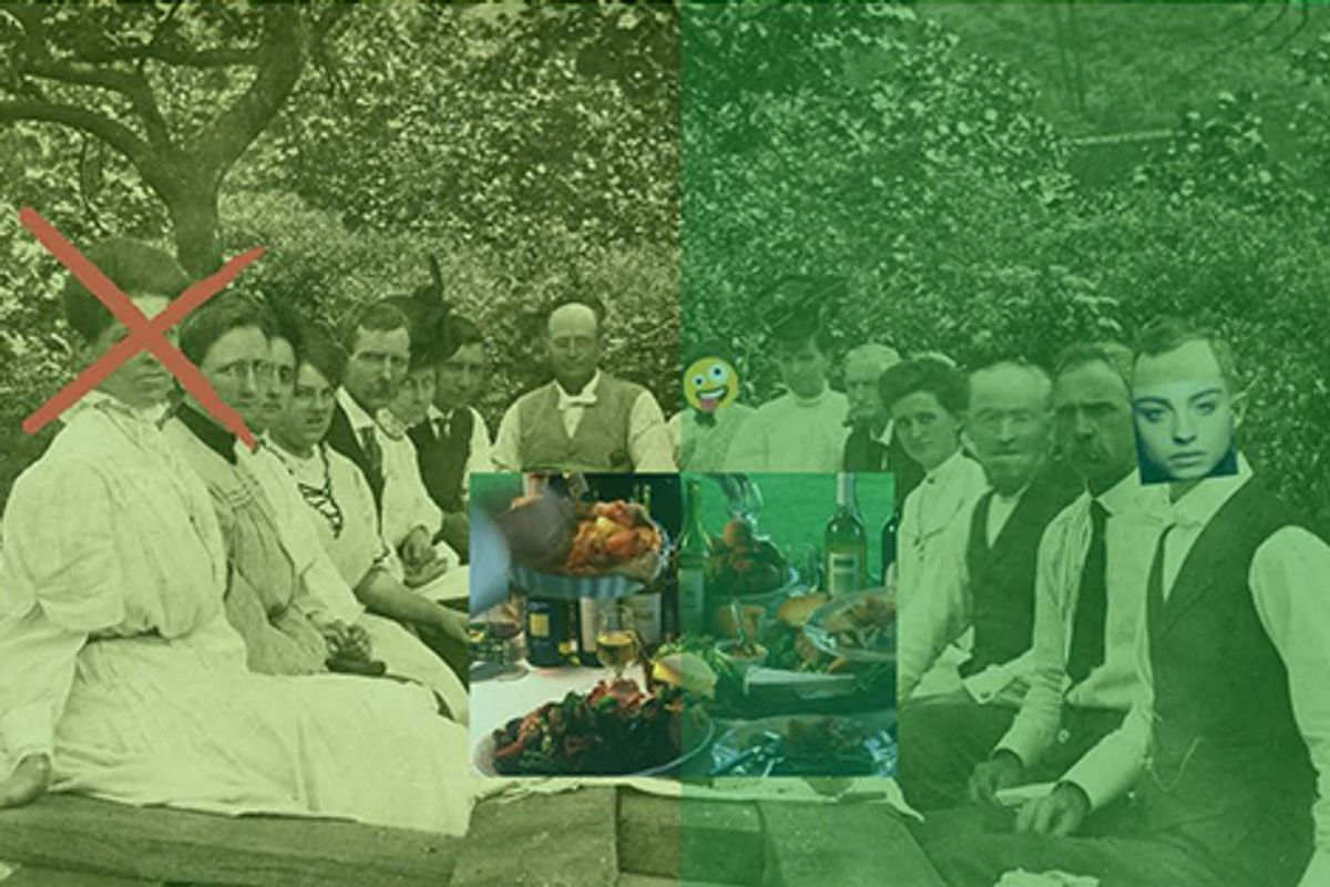 Green picture representing regional historical people.