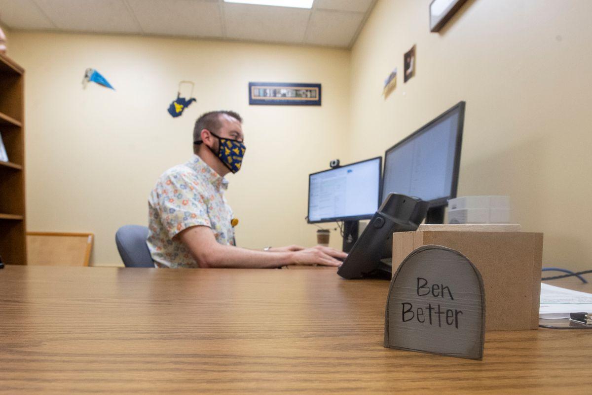 Ben Klos at his computer