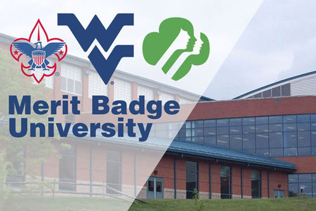 WVU student recreation center with Merit Badge University and flying WV logos over top of the image
