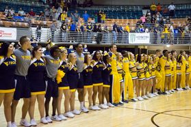 WVU Tech and WVU Cheerleaders sing Country Roads together