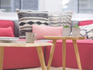 Living room tables with coffee cups
