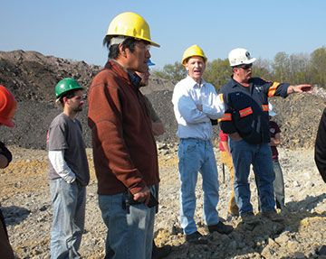 Students on mine site
