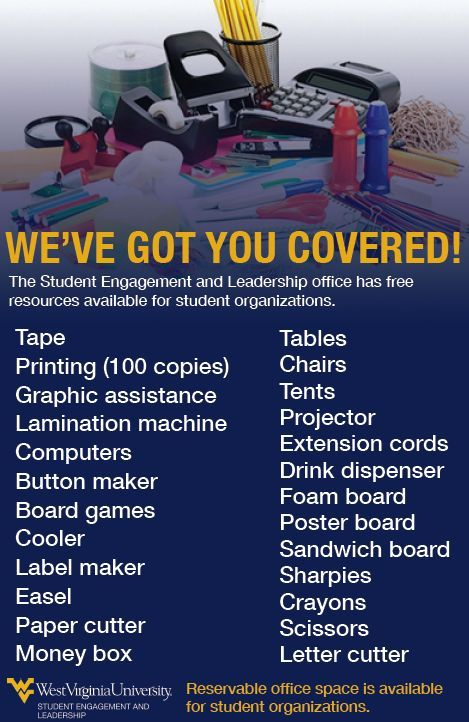 A listing of all of the resources available to student orgs. From basic office supplies to printing.