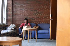 Student Studying in Lounge Boreman North