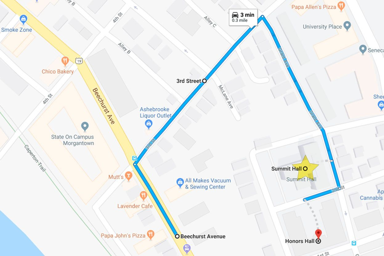 To go to Summit Hall, start from Beechurst Ave, turn into 3rd Street then turn right to Grant Ave and turn right again to 2nd Ave. From there follow directions from staff.