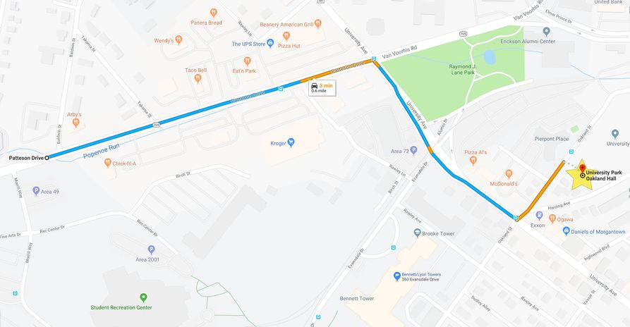 Map of Oakland hall starting from Patteson Drive going to University Avenue. From University, turn left onto Oakland Street and then follow staff directions.