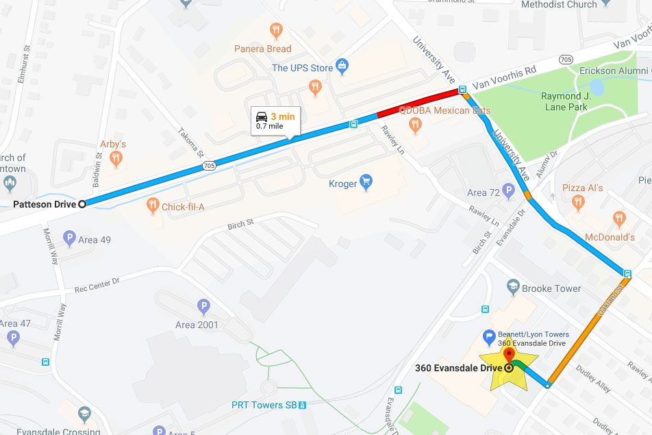 Map of how to get to Bennett and Lyon Towers. Starting from Patteson Drive, turn right onto University Ave and make another right at Oackland Street. Turn into the area behind Towers and follow staff directions.