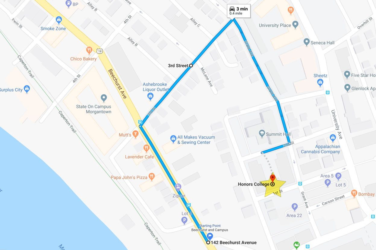 Map of how to get to Honors Hall. Starting from Beechurst Ave, turn onto 3rd Street to get to Grant Ave. then make a right onto 2nd Avenue and proceed to follow Move-in staff directions