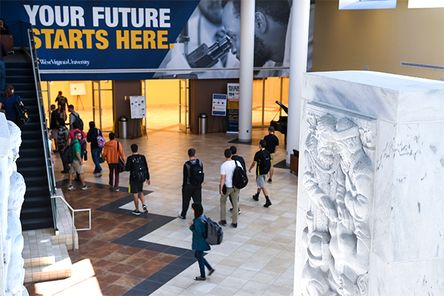 Students in the lobby of Health Sciences