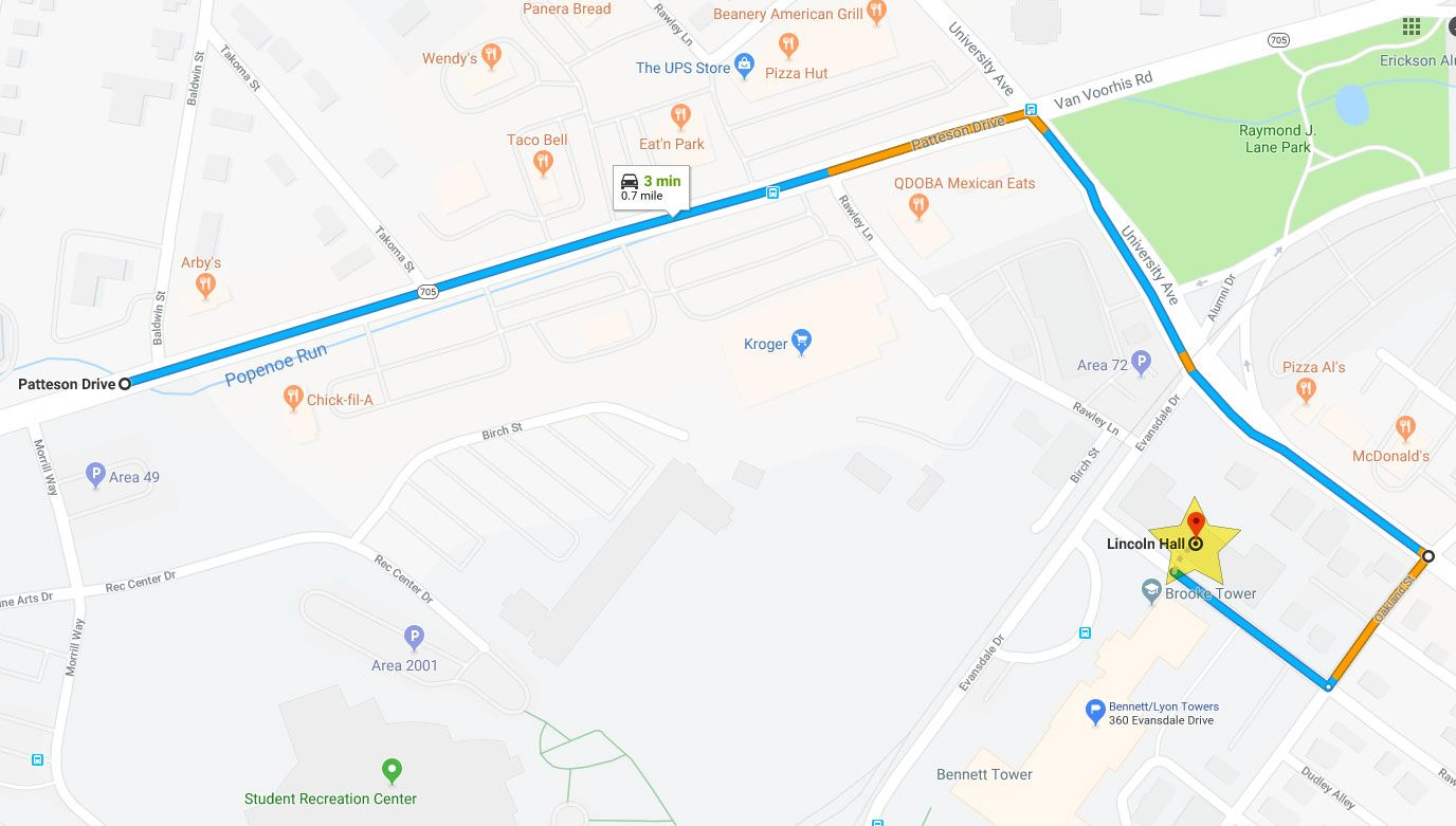 Map of how to get to Lincoln Hall. Starting from Patteson Drive, turn right onto University Ave and make another right on Oakland Street. Make a right again on Rawley Avenue and then follow directions of staff.