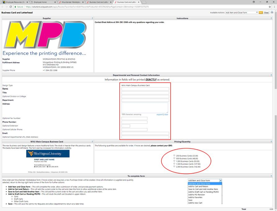 A screenshot showing the MPB Business Card Selection form, with the address and quantity fields highlighted.