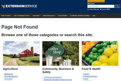 A screenshot showing WVU Extension's 404 Not Found page.