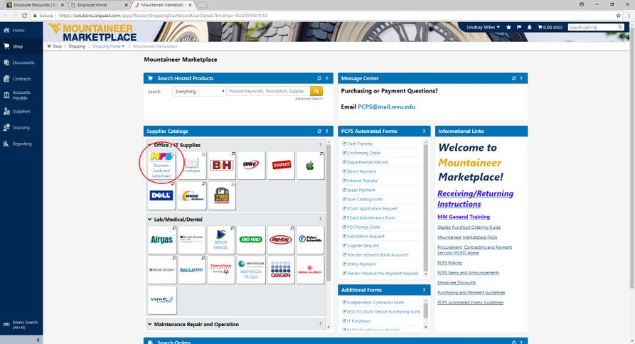 A screenshot showing the WVU Mountaineer Marketplace landing page.